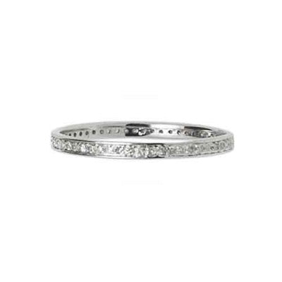 14k White Gold Diamond Row Band