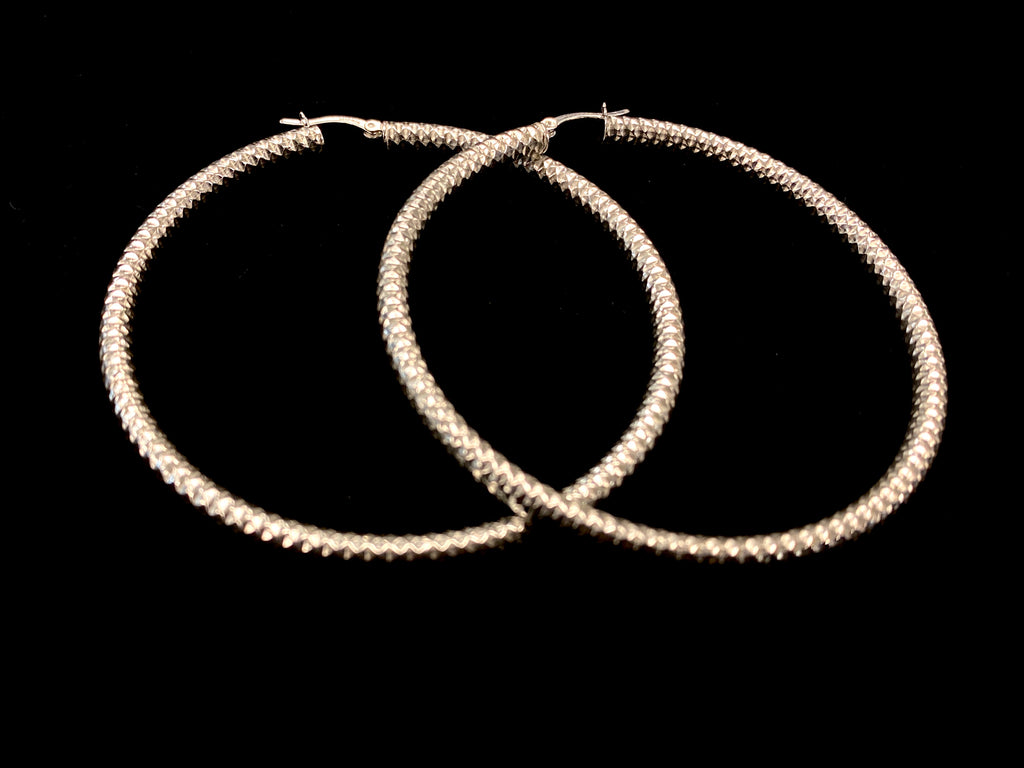 XL Diamond Cut Hoop Earrings