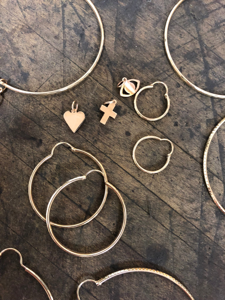 Charm Cross ✝️ Hoop Earrings - House of Fine Gold