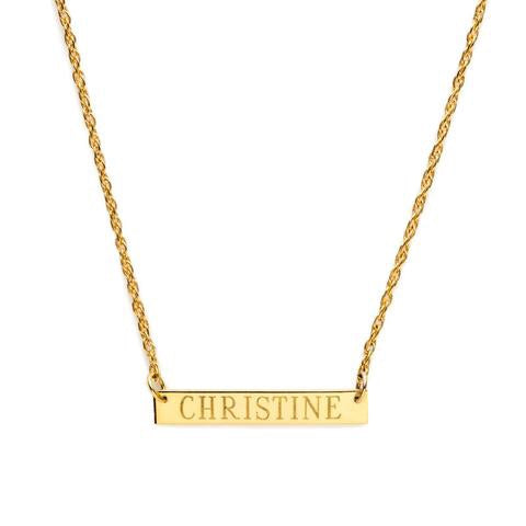 """Gold Bar"" Custom Nameplate Necklace"