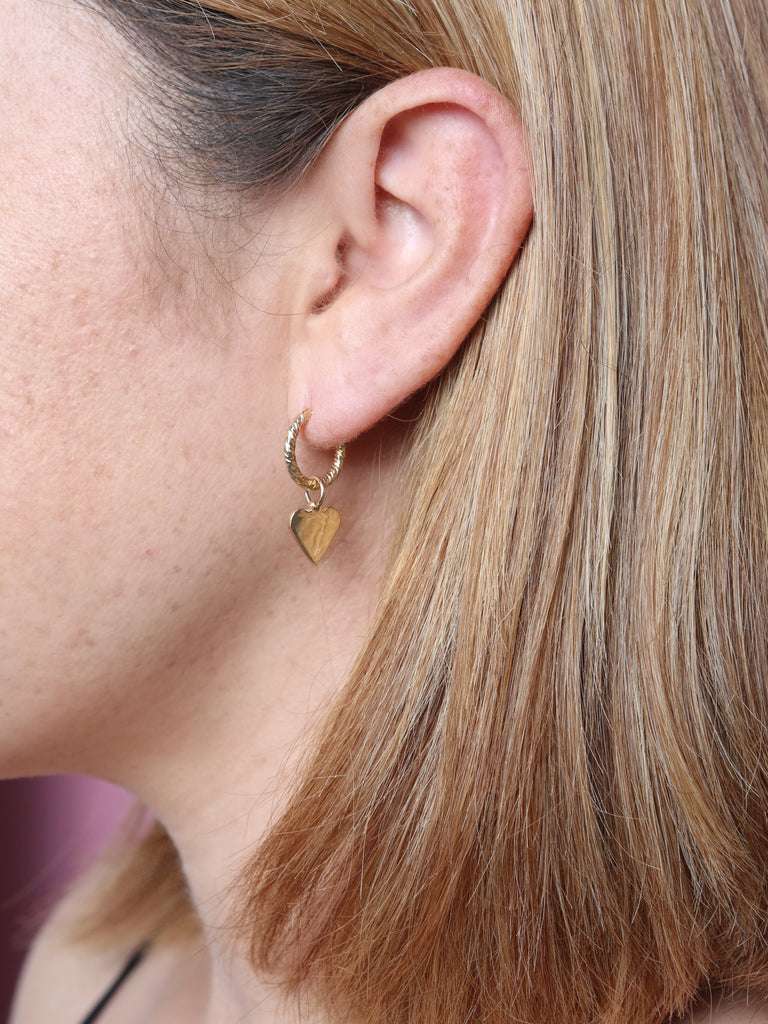 Charm Heart ♥️ Hoop Earrings - House of Fine Gold