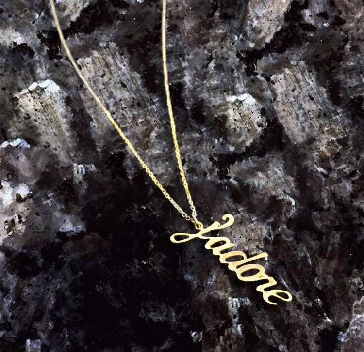 "Custom Nameplate Necklace ""Signature Font"" - House of Fine Gold"