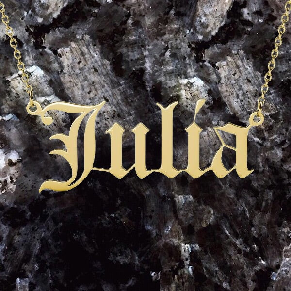 "Custom Name Necklace ""Old English Font"""