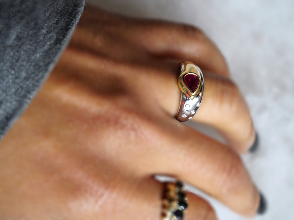Ruby Droplet 14k Gold Mini Diamond Ring