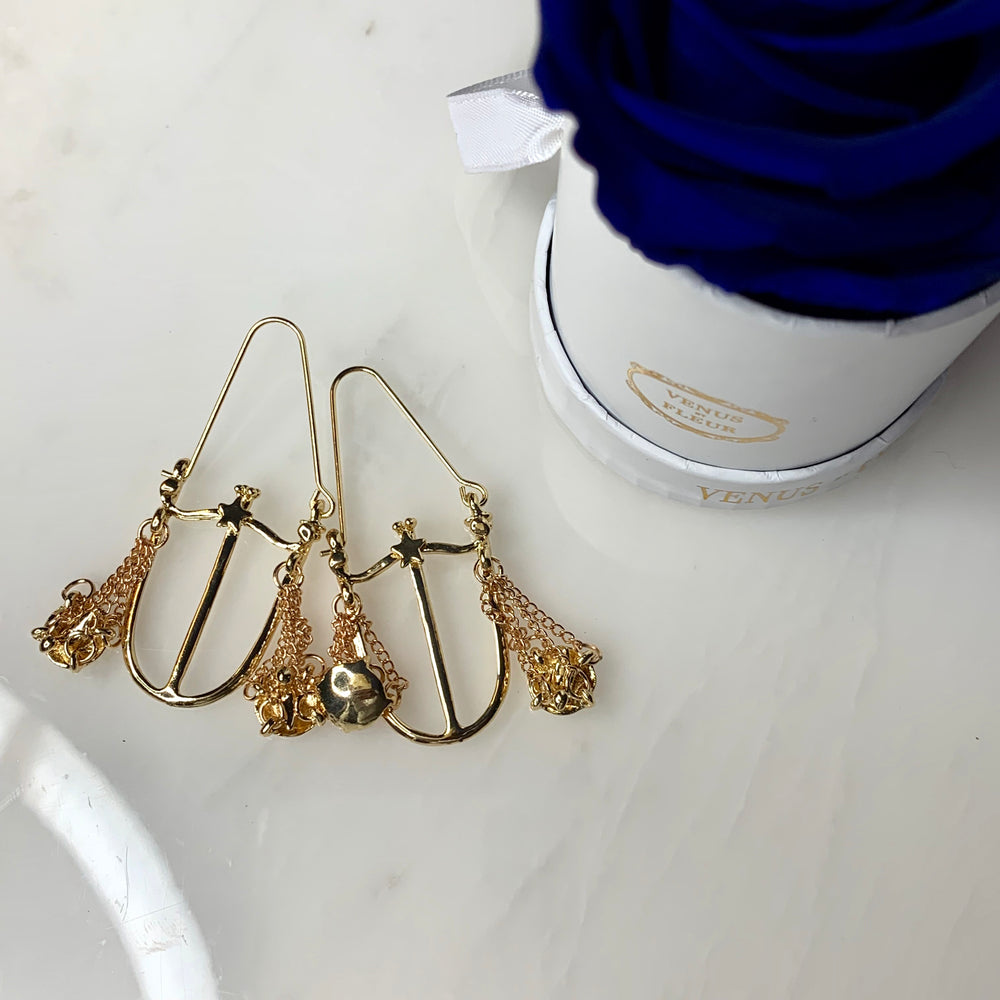 Gold Libra Scale Zodiac Earrings - House of Fine Gold