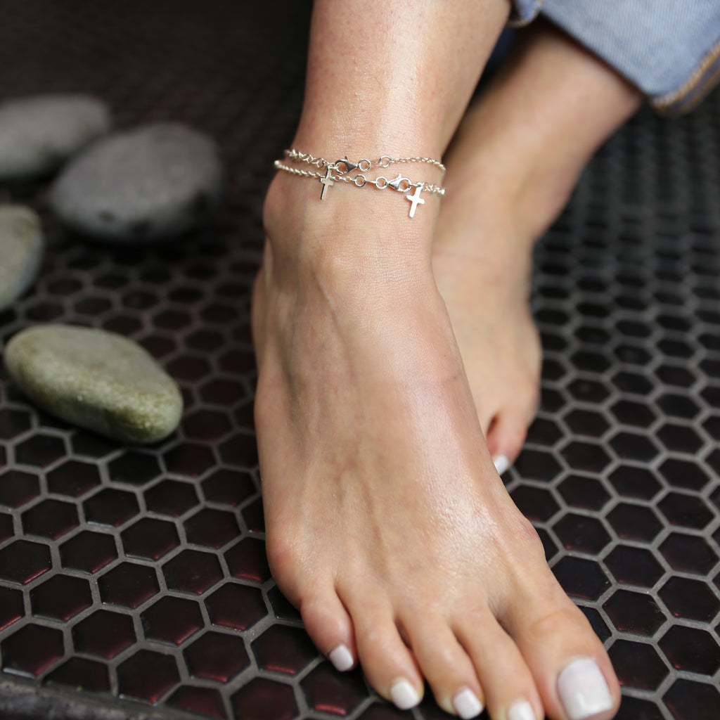Tiny Cross Anklet in Sterling Silver