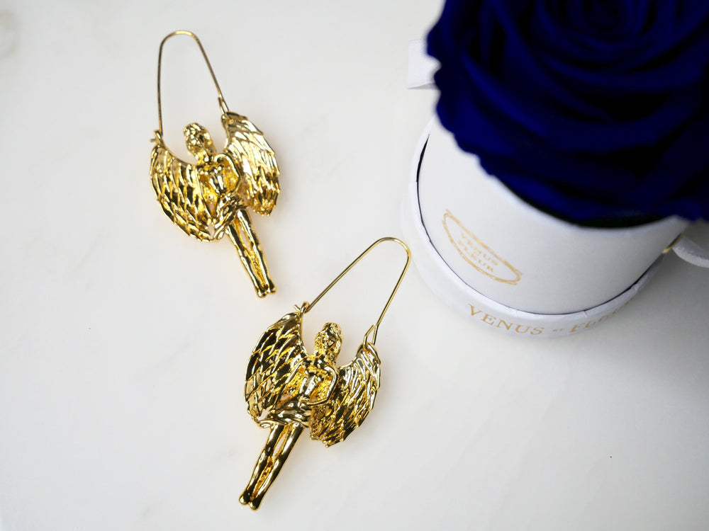 Gold Virgo Maiden Zodiac Earrings - House of Fine Gold