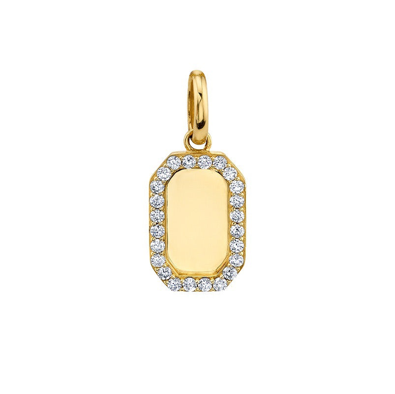 Rectangle Pendant CZ white (custom engrave)