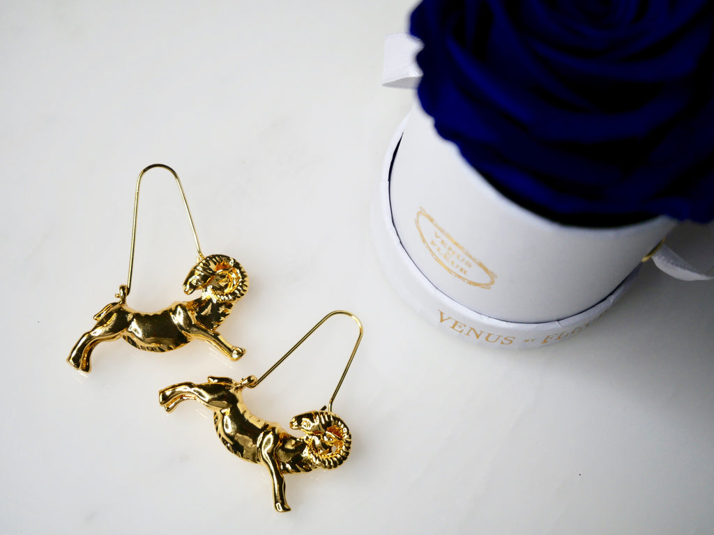 Gold Aries Ram Zodiac Earrings - House of Fine Gold