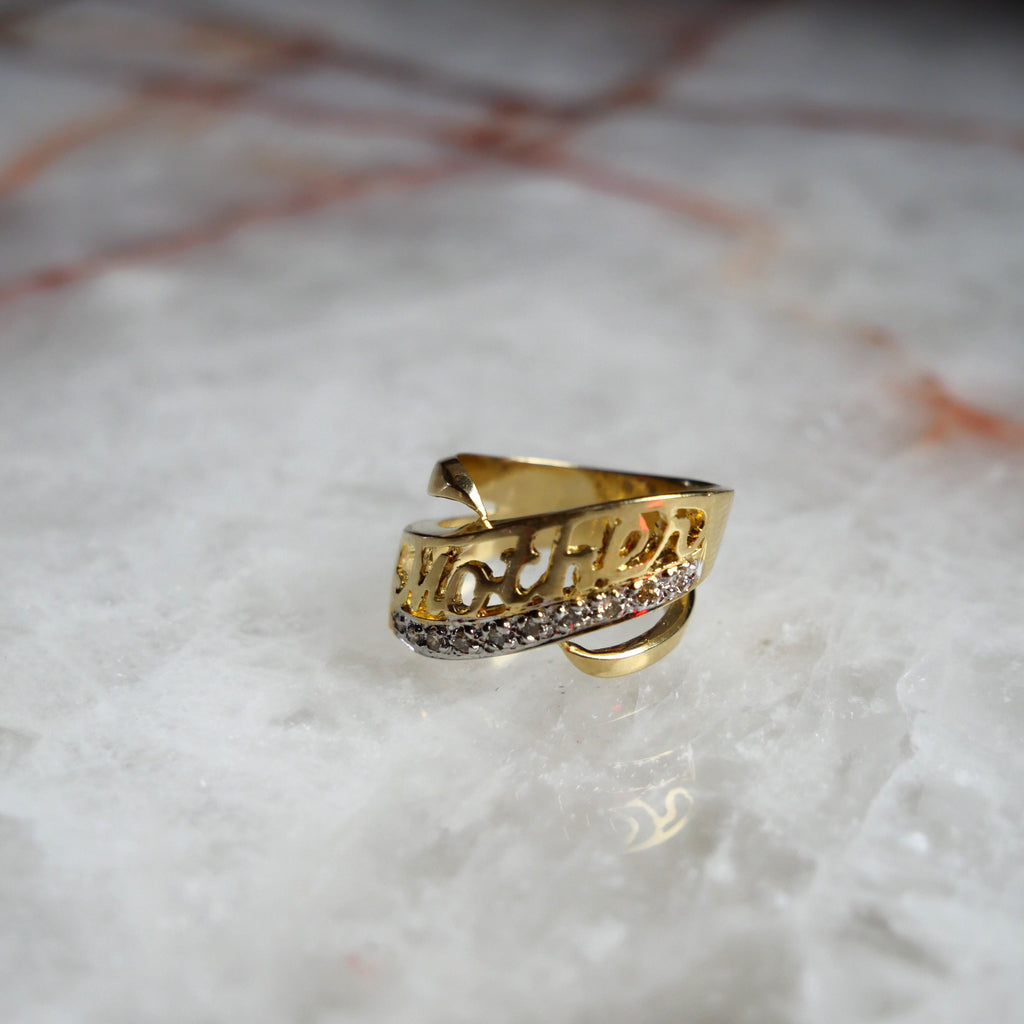 "Mother Lover Ring 14k Gold & Diamond ""Mom"" ring"