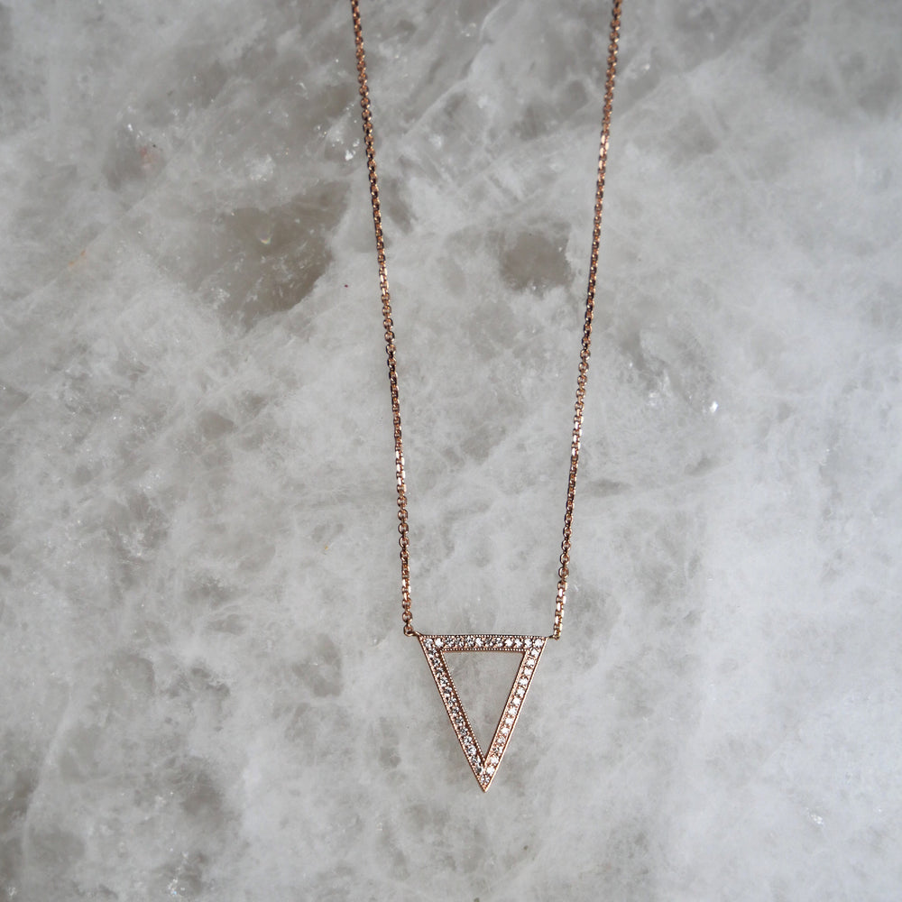 Rose Gold Crystal Triangle Necklace