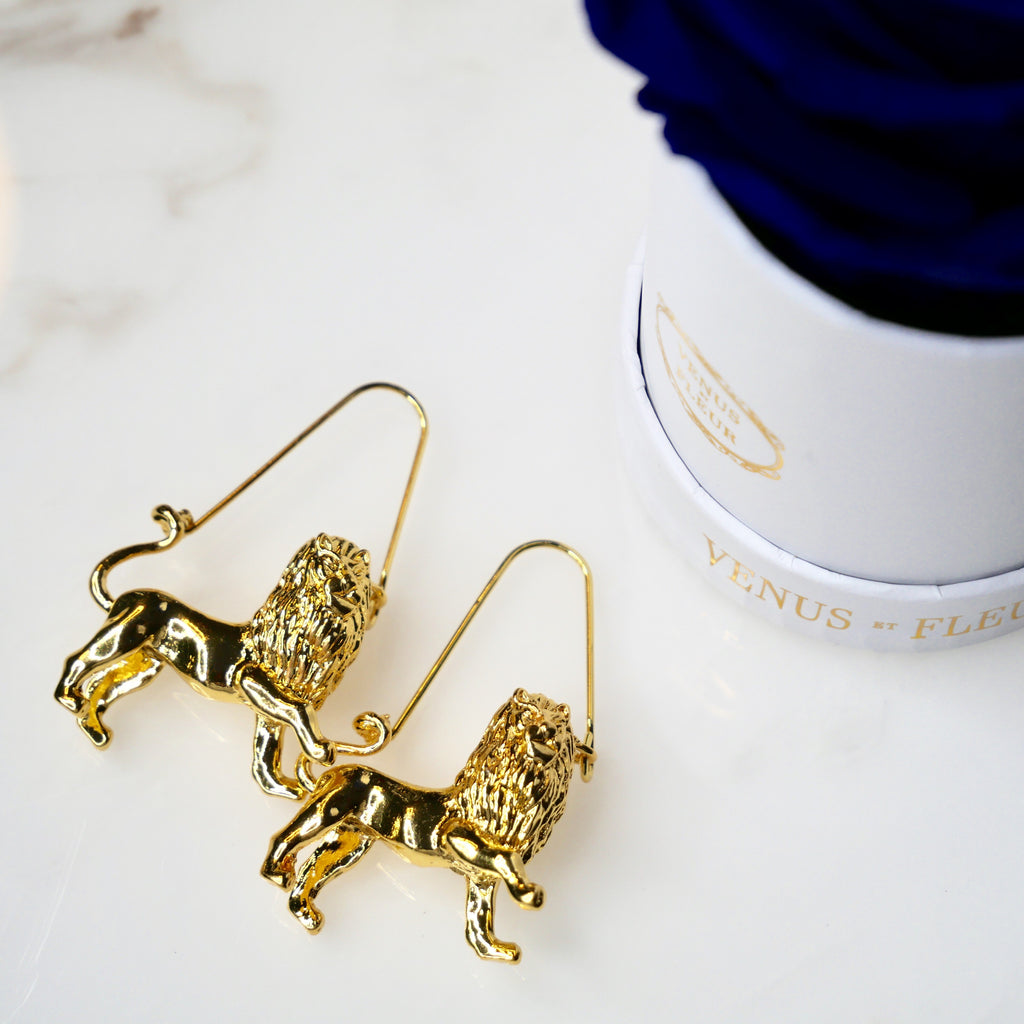 Gold Leo Lion Zodiac Earrings - House of Fine Gold