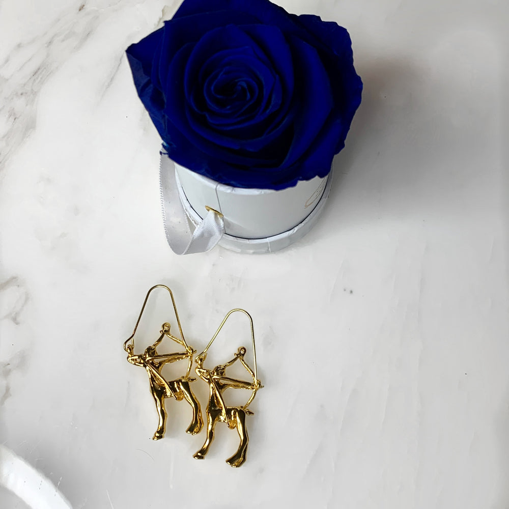 Gold Sagittarius Zodiac Earrings - House of Fine Gold