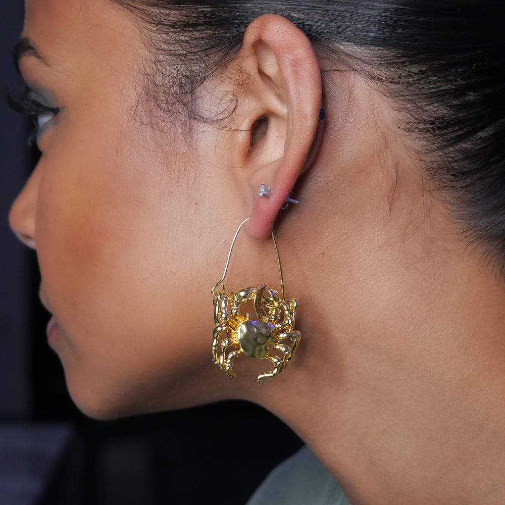 Gold Cancer Crab Zodiac Earrings - House of Fine Gold