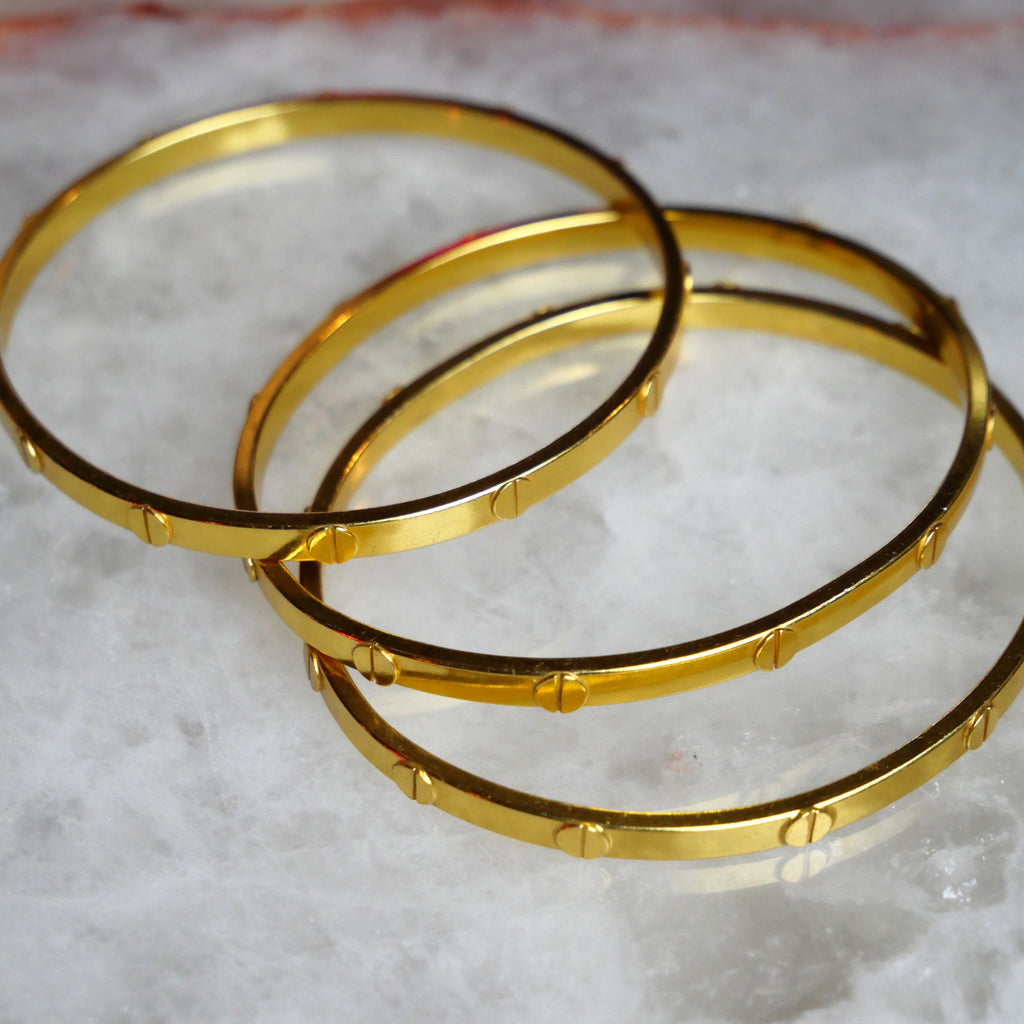 Hampton Gold Screw Bangle