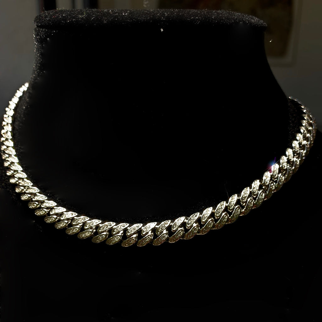 cuban link womens choker chain silver and pave cz stones