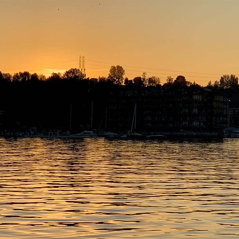 Sunset view of Lake Washington, Seattle WA