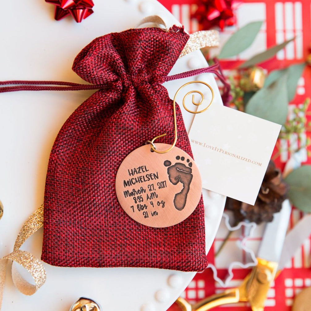 Baby's First Christmas Engraved Footprint Ornament - Love It Personalized