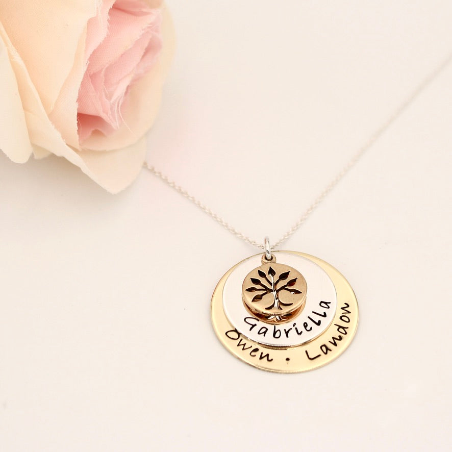 Layered Personalized Mixed Metals Necklace - Love It Personalized