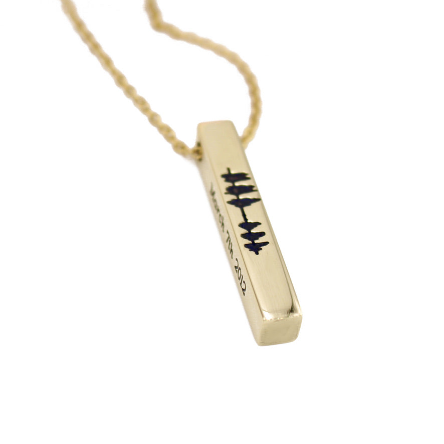 Sound Wave Vertical Bar Necklace - Brass - Love It Personalized