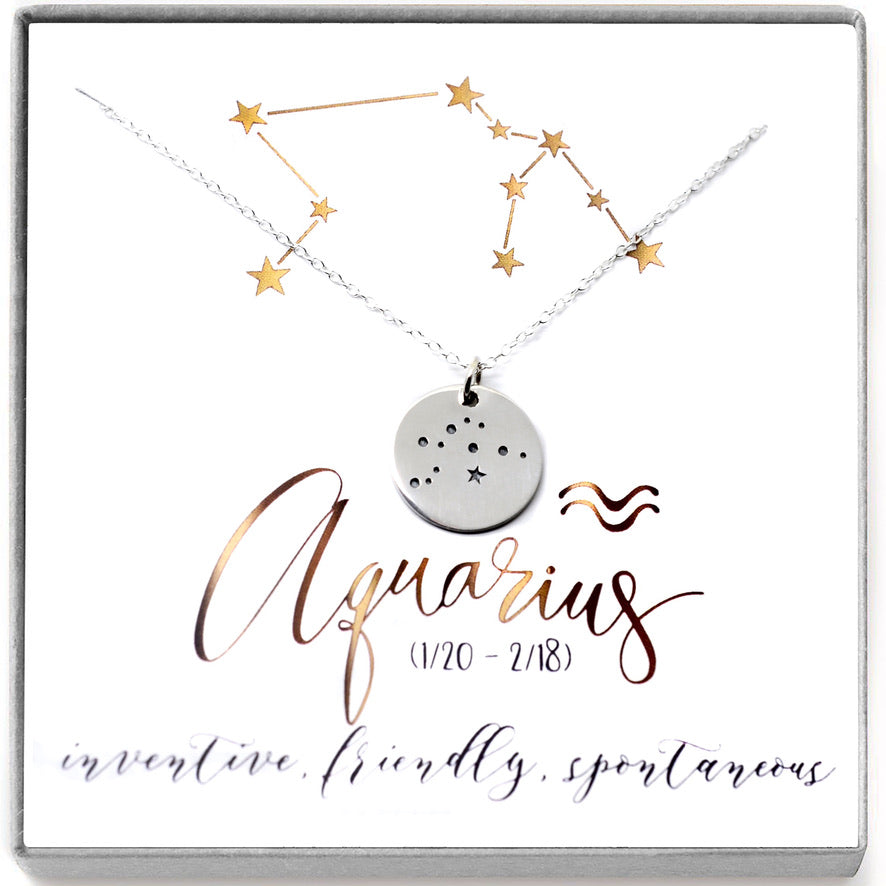 Copy of Aquarius Zodiac Sign 14K Gold Filled Constellation Necklace. - Love It Personalized
