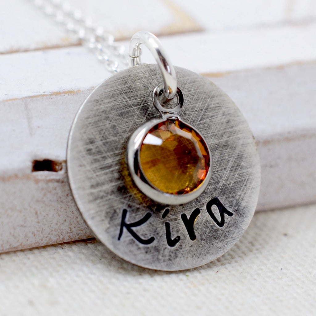 "Rustic Name Necklace with Birthstone - 5/8"" - Love It Personalized"
