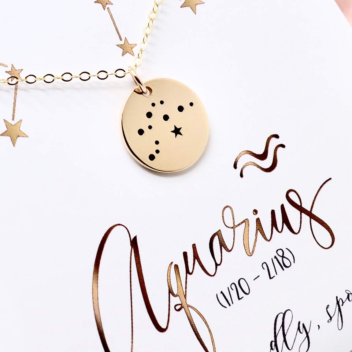 Aquarius Zodiac Sign 14K Gold Filled Constellation Necklace - Love It Personalized