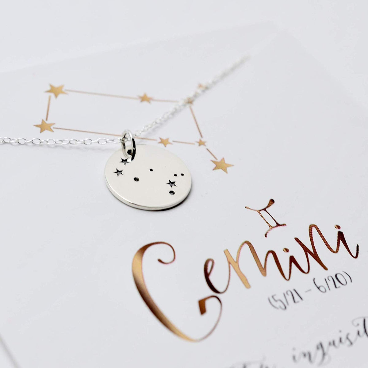 Gemini Zodiac Sign Sterling Silver Constellation Necklace - Love It Personalized