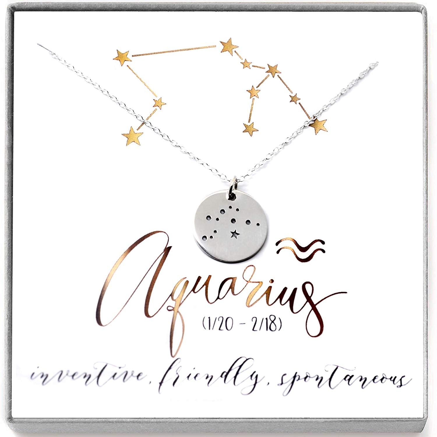 Aquarius Zodiac Sign Sterling Silver Constellation Necklace - Love It Personalized