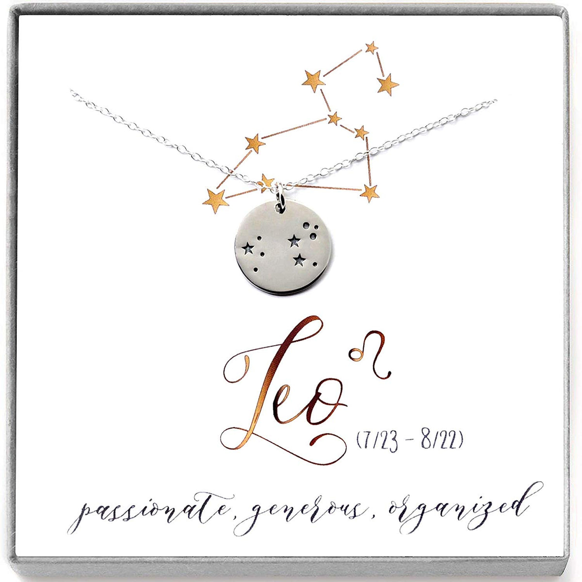 Leo Zodiac Sign Sterling Silver Constellation Necklace - Love It Personalized