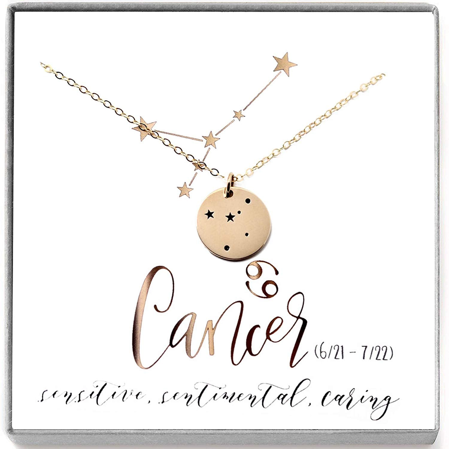 Cancer Zodiac Sign 14K Gold Filled Constellation Necklace - Love It Personalized