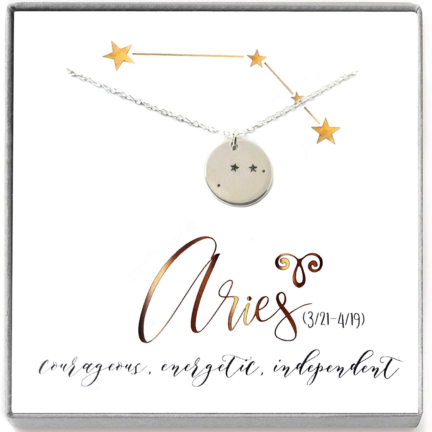 Aries Zodiac Sign Sterling Silver Constellation Necklace - Love It Personalized