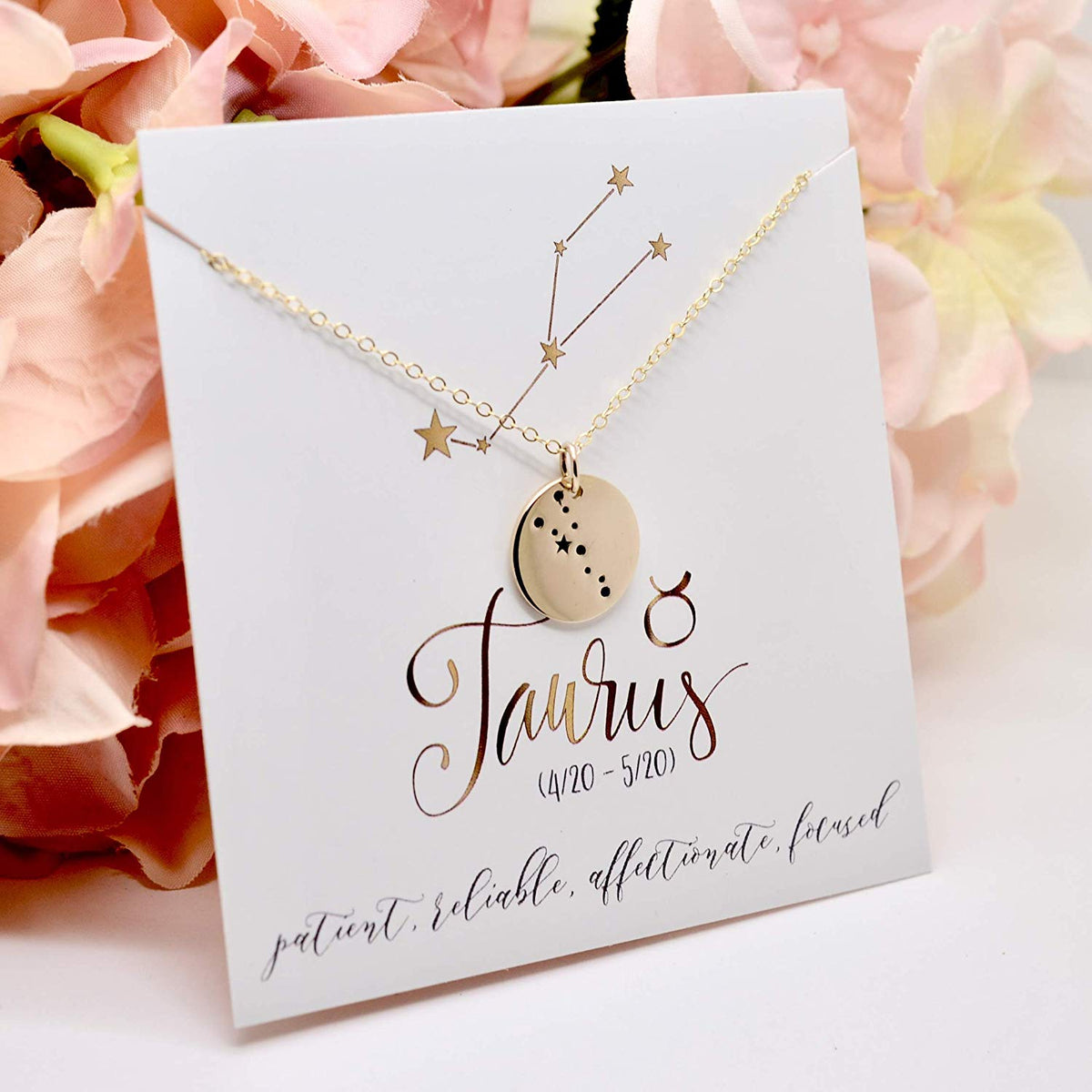 Taurus Zodiac Sign 14K Gold Filled Constellation Necklace - Love It Personalized