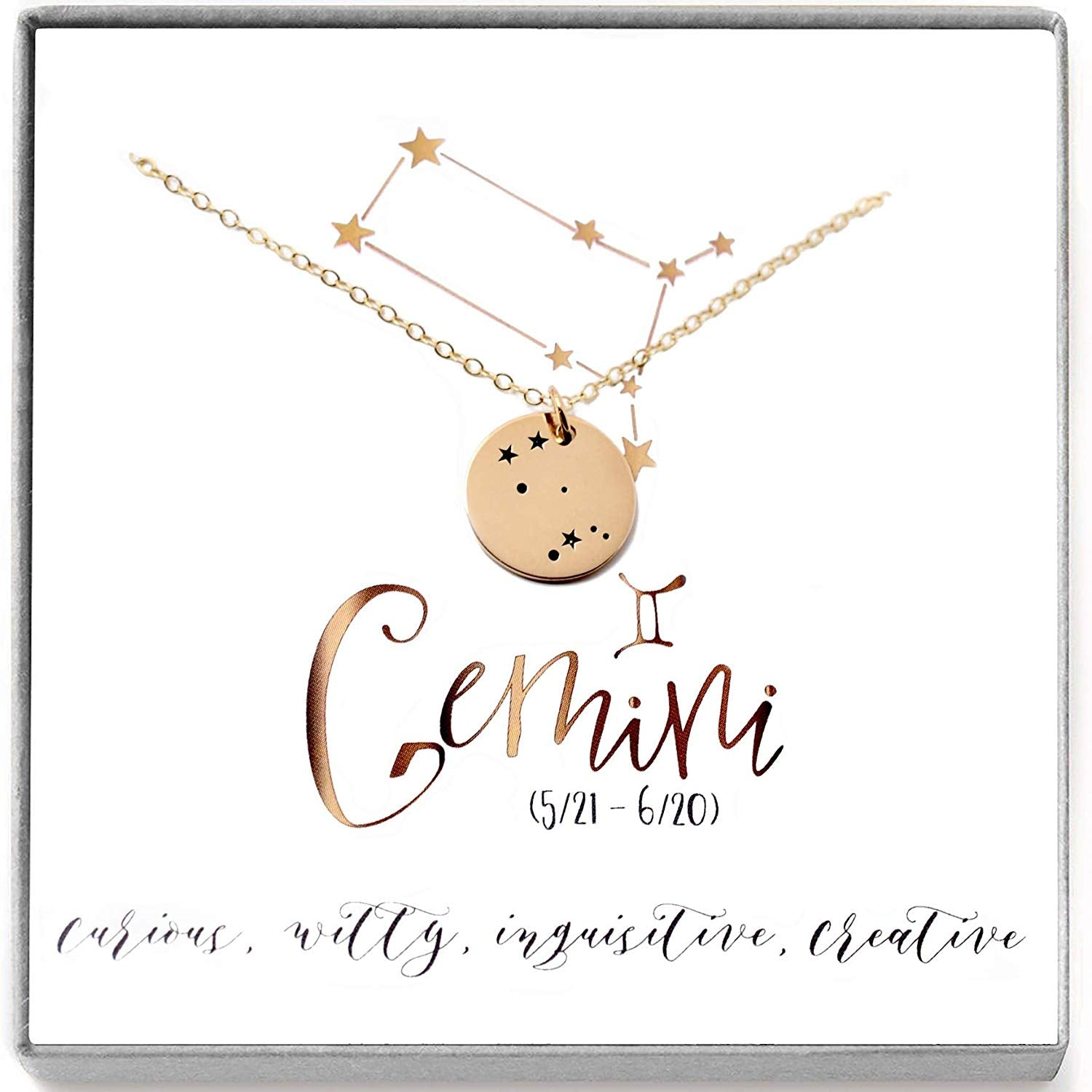 Gemini Zodiac Sign 14K Gold Filled Constellation Necklace - Love It Personalized