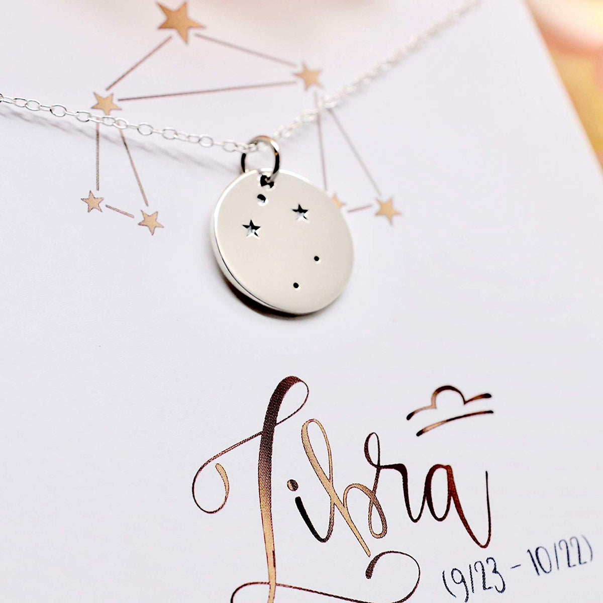 Libra Zodiac Sign Sterling Silver Constellation Necklace - Love It Personalized