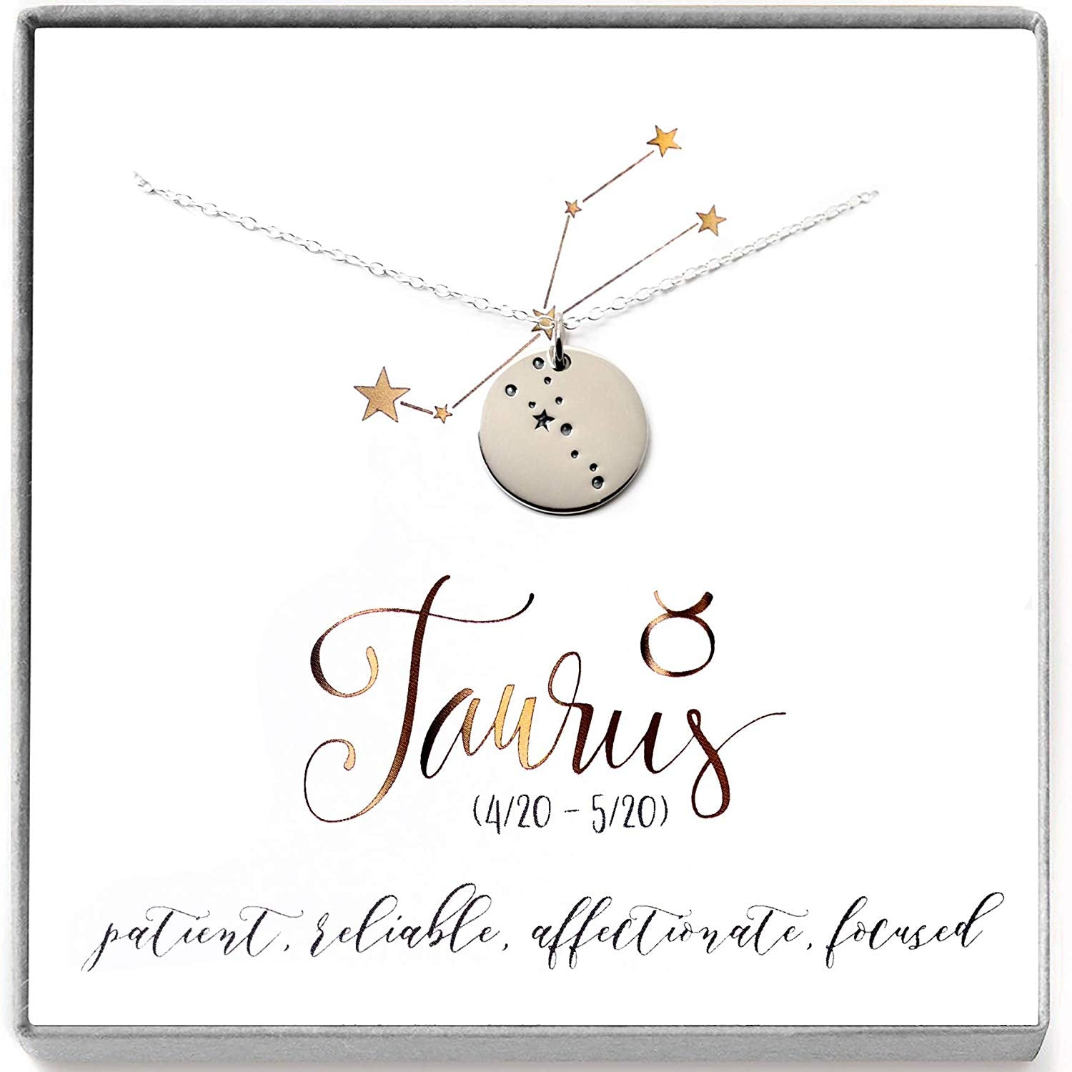 Taurus Zodiac Sign Sterling Silver Constellation Necklace - Love It Personalized