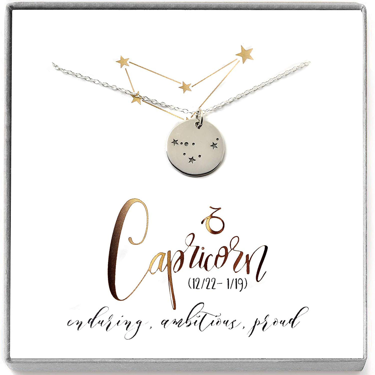 Capricorn Zodiac Sign Sterling Silver Constellation Necklace - Love It Personalized