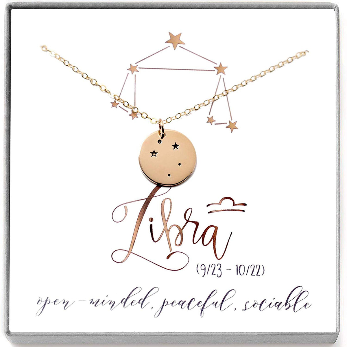 Libra Zodiac Sign 14K Gold Filled Constellation Necklace - Love It Personalized