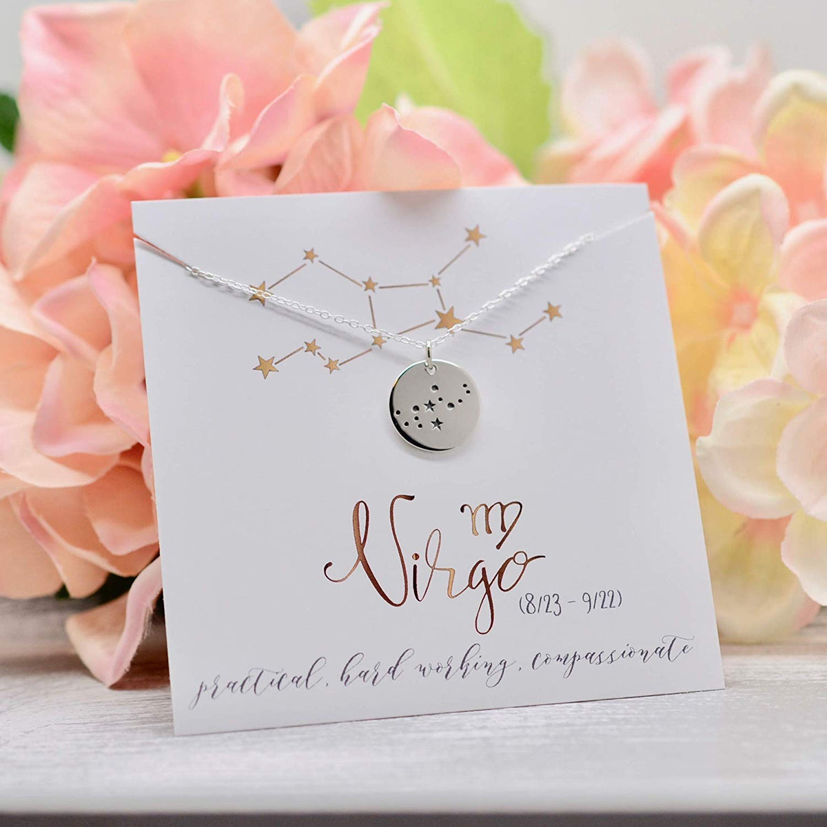 Virgo Zodiac Sign Sterling Silver Constellation Necklace - Love It Personalized