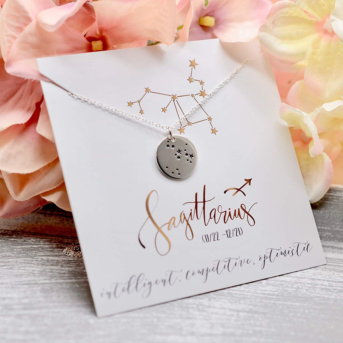 Sagittarius Zodiac Sign Sterling Silver Constellation Necklace - Love It Personalized