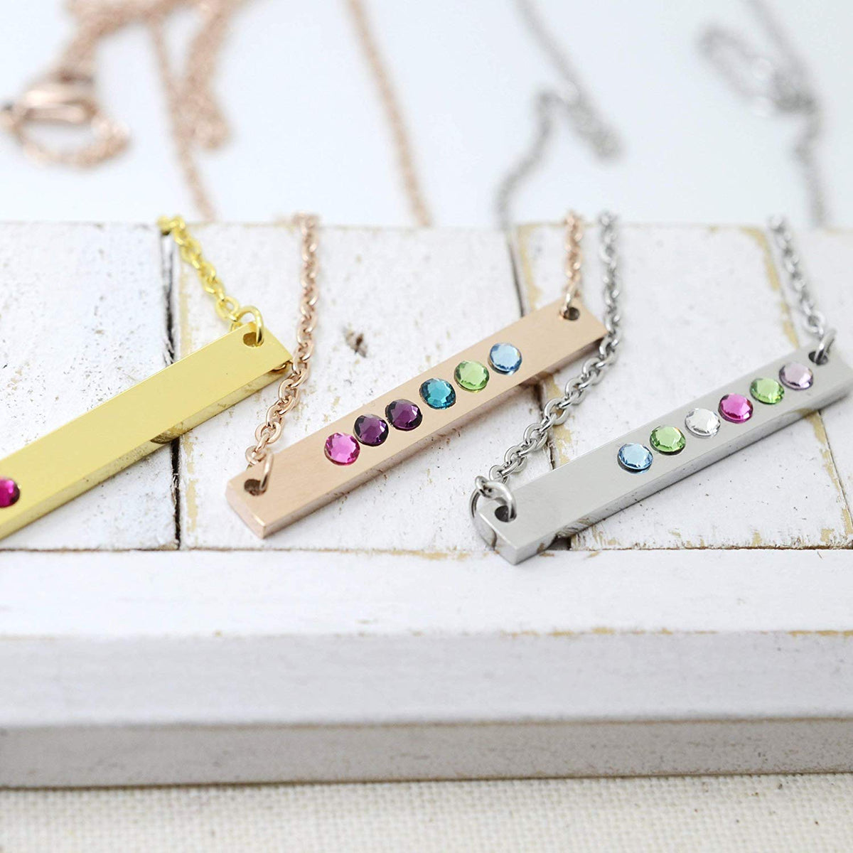 Silver Horizontal Birthstone Bar Necklace - Love It Personalized