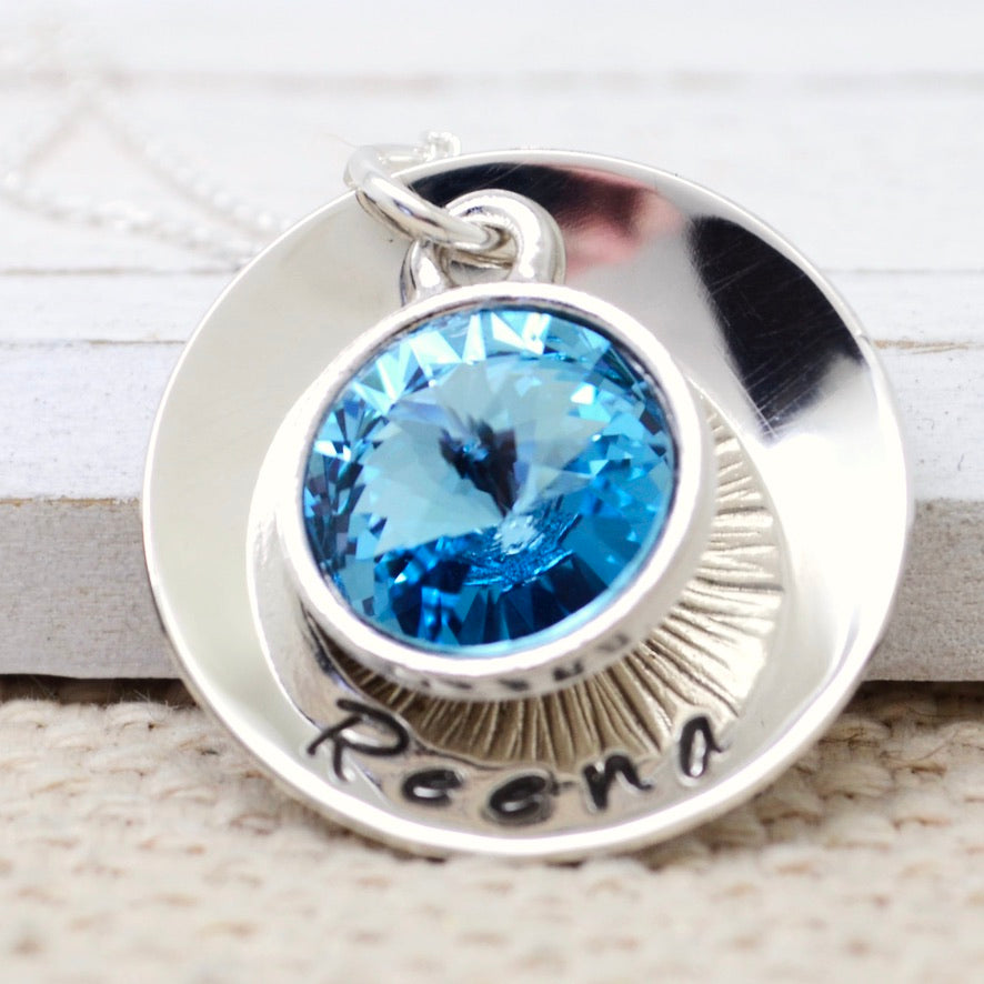 Domed Birthstone Necklace - Love It Personalized