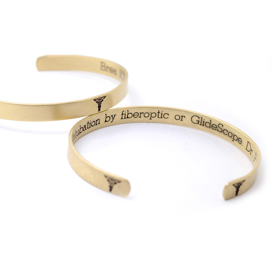 Medical Alert Cuff - Brass 1/4 in - Love It Personalized