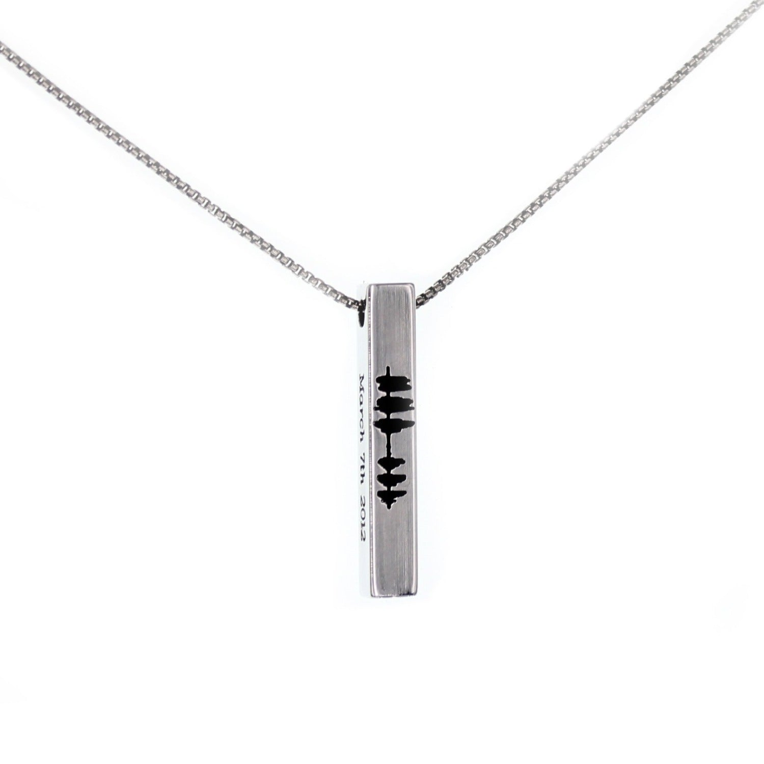Sound Wave Vertical Bar Necklace - Silver Tone - Love It Personalized