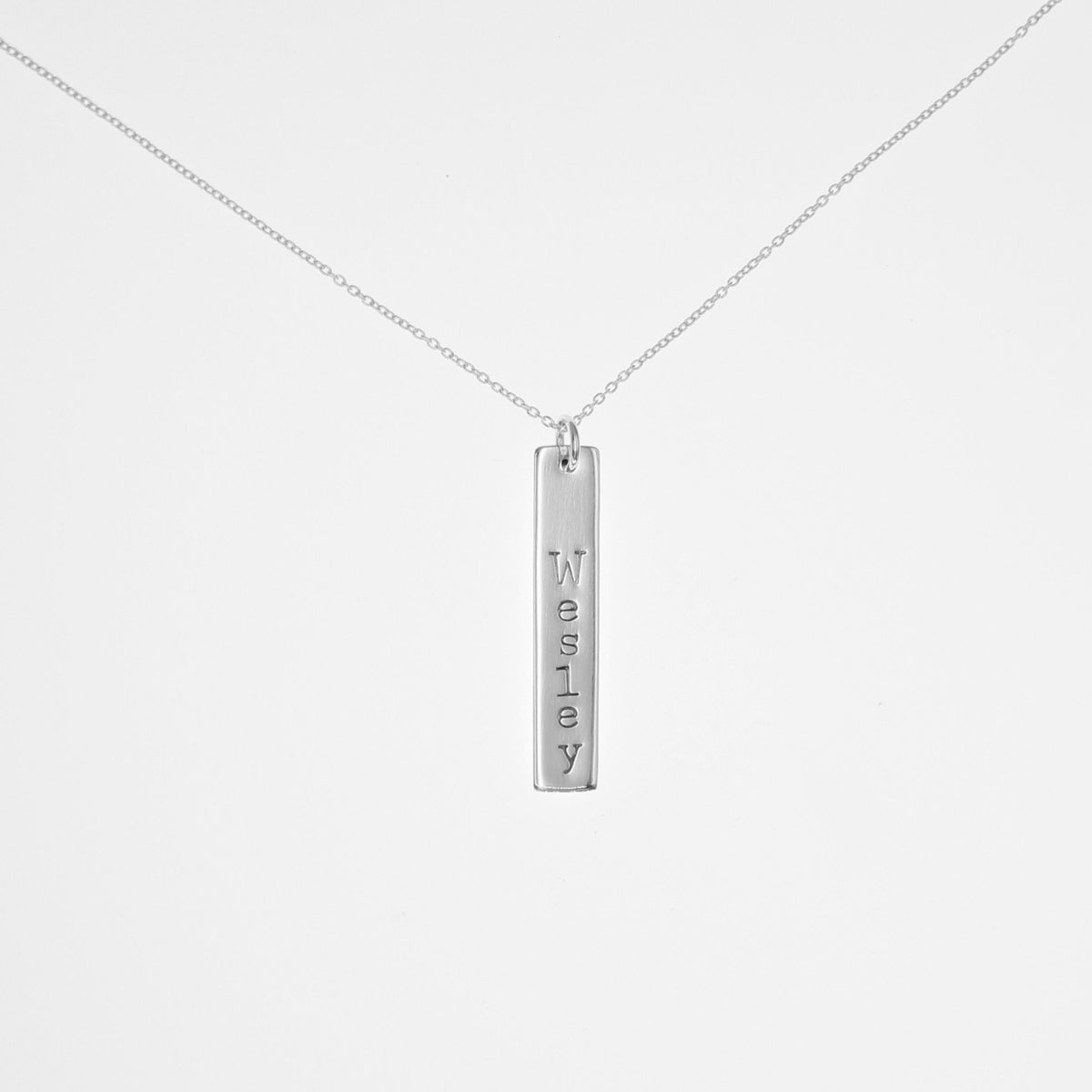 Sterling Silver Vertical Bar Necklace - Love It Personalized