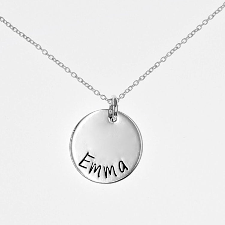 "Sterling Silver Round Disc Necklace - 5/8"" - Love It Personalized"