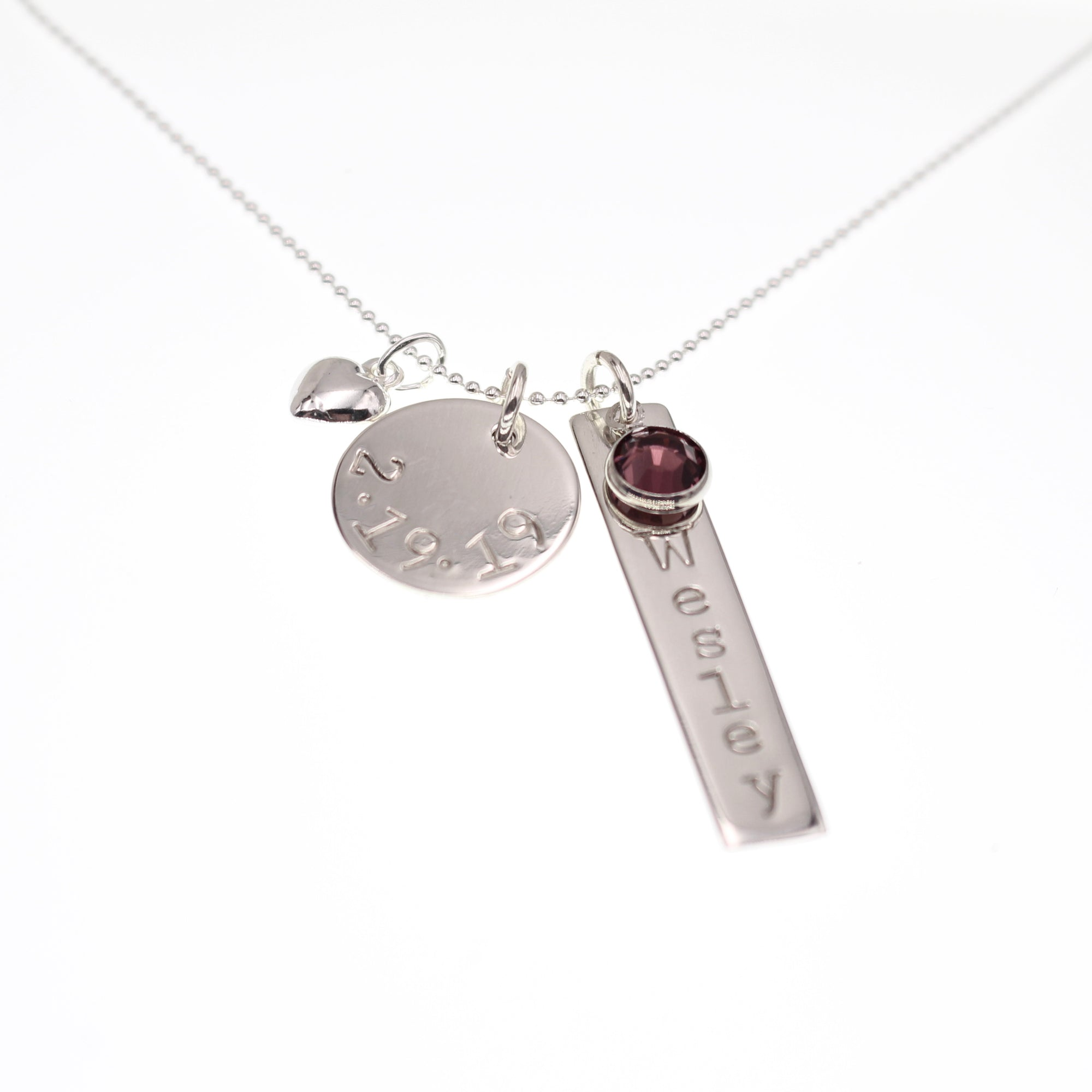 Disc & Tag Personalized Necklace - Sterling Silver - Love It Personalized