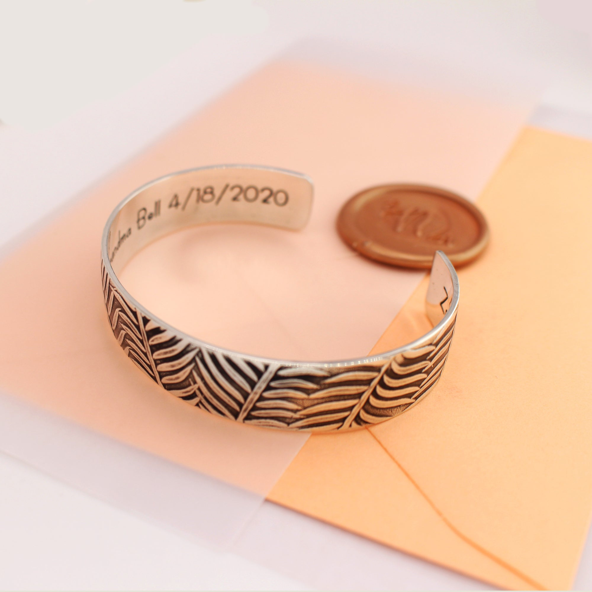 "Fern Pattern Personalized Cuff Bracelet - 1/2"" - Love It Personalized"
