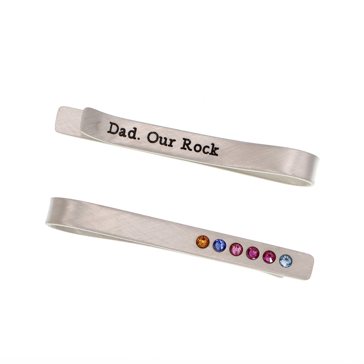 Father's Day Tie Bar with Birthstones - Love It Personalized
