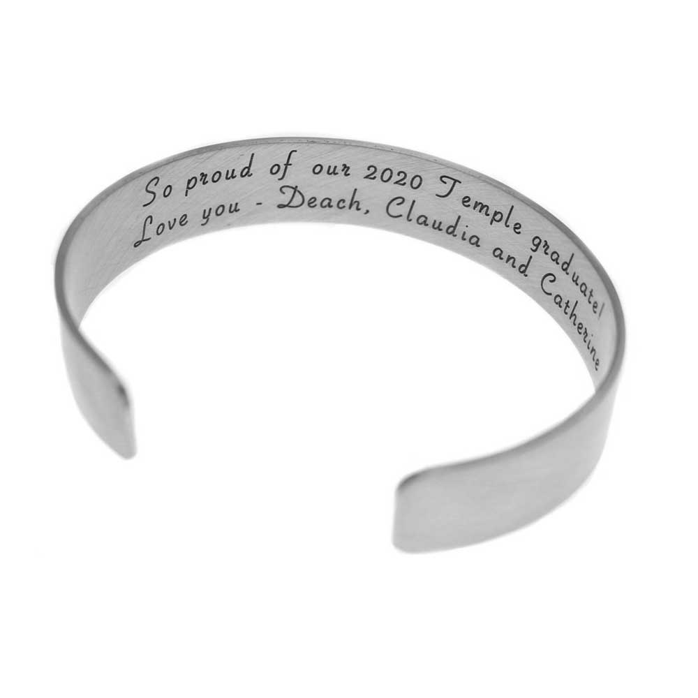 Graduation Cuff Bracelet - Sterling Silver - Love It Personalized